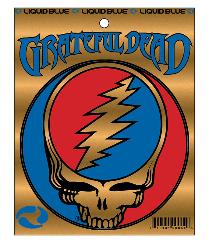 Grateful Dead Steal Your Face 3 in. Metal Sticker Liquid Blue