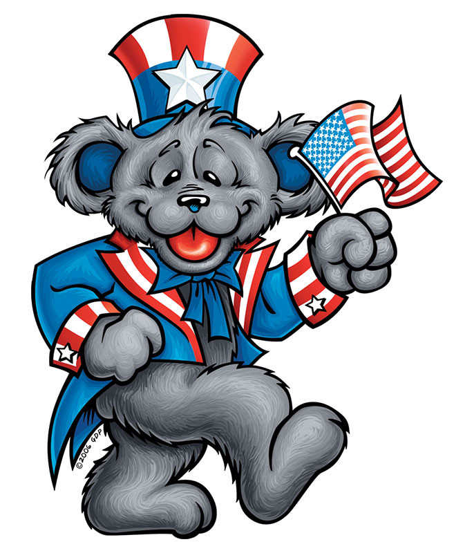 Grateful Dead Patriot Bear Sticker Liquid Blue
