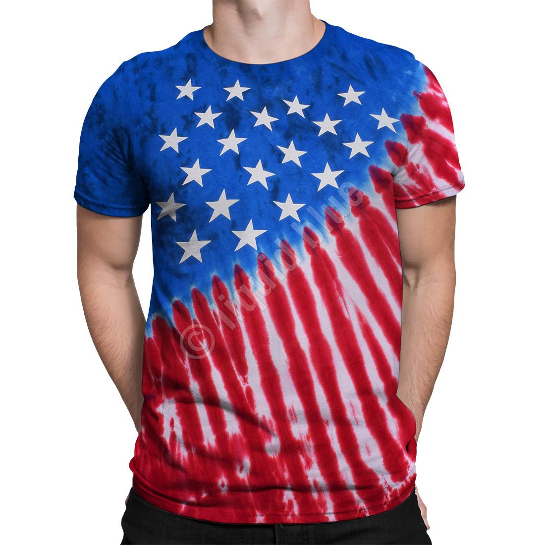 f053de3c Americana Stars And Stripes Tie-Dye T-Shirt Tee Liquid Blue