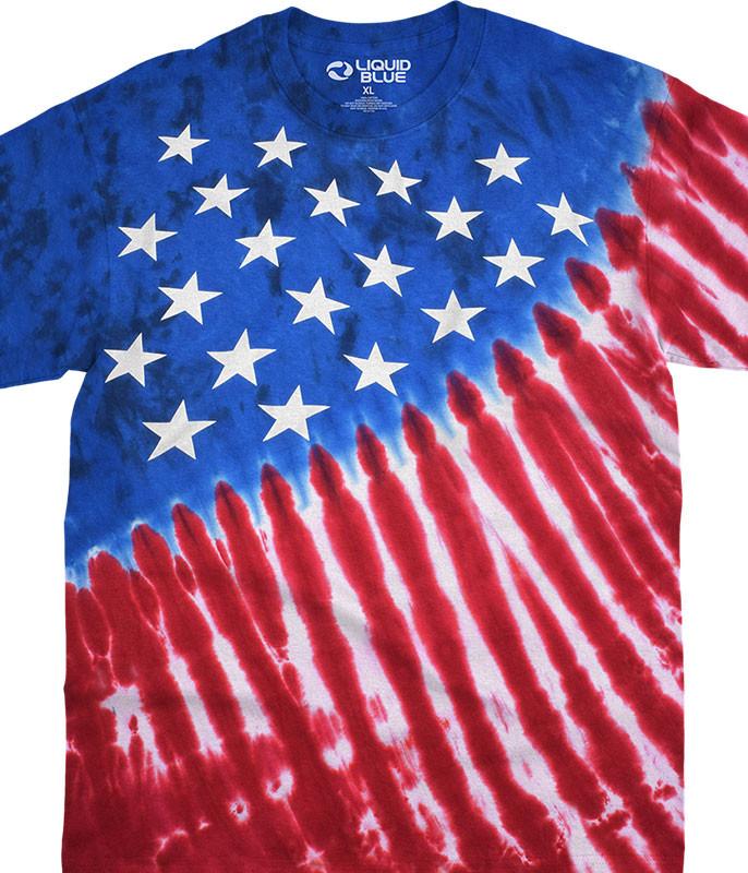 Americana Stars And Stripes Tie-Dye T-Shirt Tee Liquid Blue