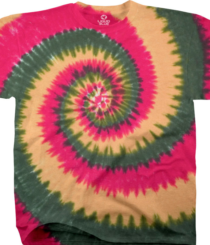 Unprinted Rasta Spiral Unprinted Tie-Dye T-Shirt Tee Liquid Blue
