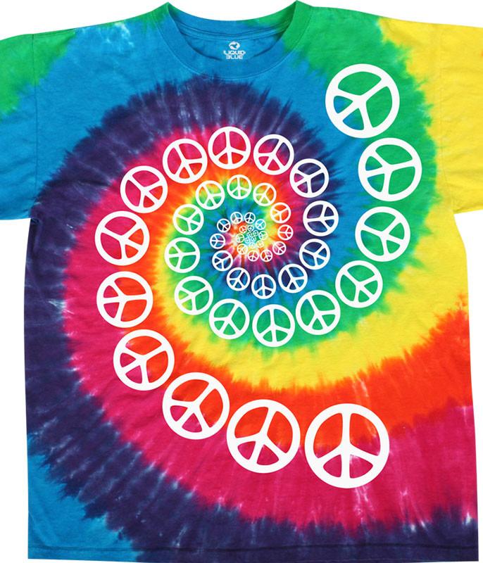 Americana Rainbow Spiral Peace Tie-Dye T-Shirt Tee Liquid Blue