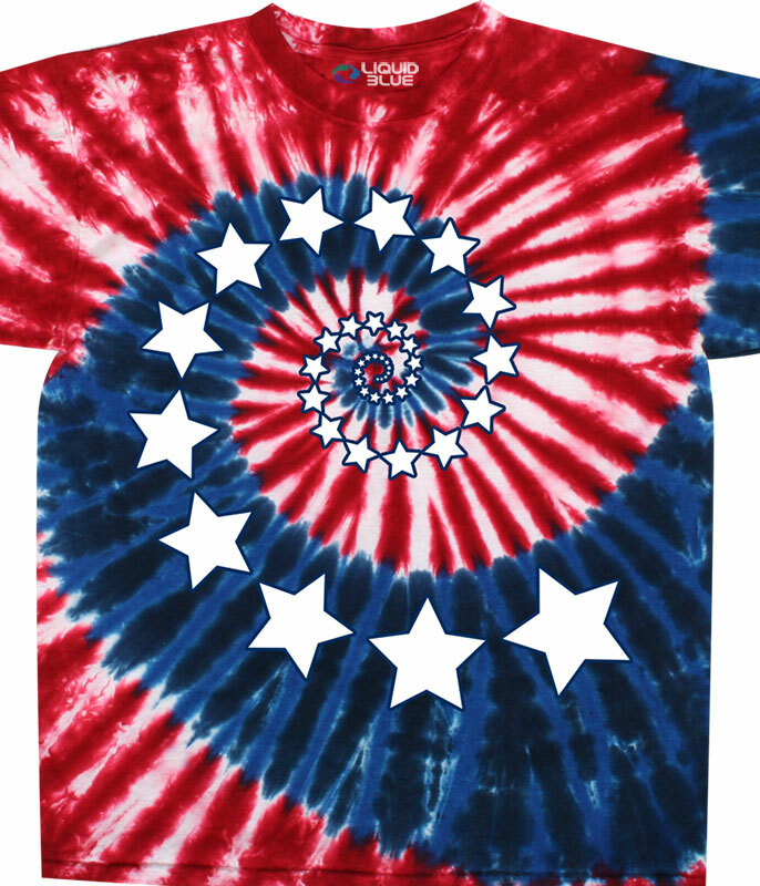 Americana Stars And Stripes Spiral Tie-Dye T-Shirt Tee Liquid Blue