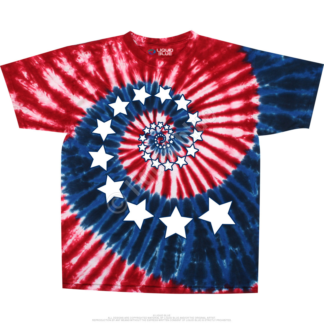 Stars And Stripes Spiral Tie-Dye T-Shirt