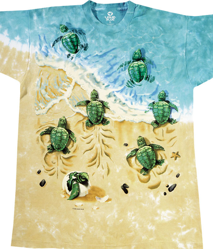 Aquatic Turtle Beach Tie-Dye T-Shirt Tee Liquid Blue
