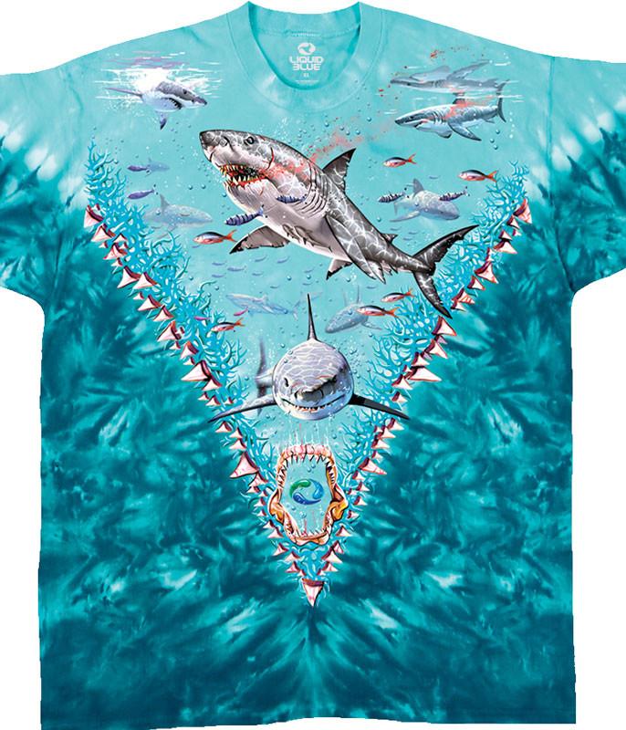 Aquatic Great White Sharks Tie-Dye T-Shirt Tee Liquid Blue