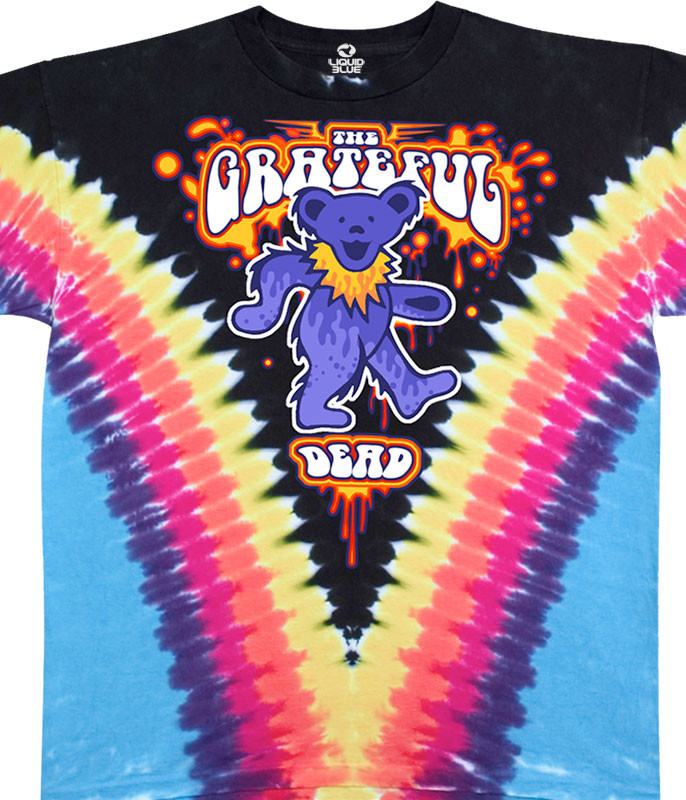 Grateful Dead Liquid Bear V Tie-Dye T-Shirt Tee Liquid Blue