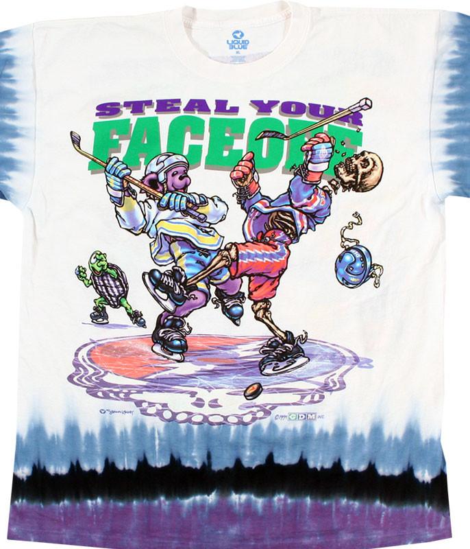 Grateful Dead Steal Your Faceoff Tie-Dye T-Shirt Tee Liquid Blue