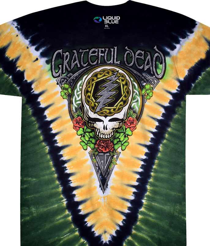 Grateful Dead GD Shamrock V Tie-Dye T-Shirt Tee Liquid Blue