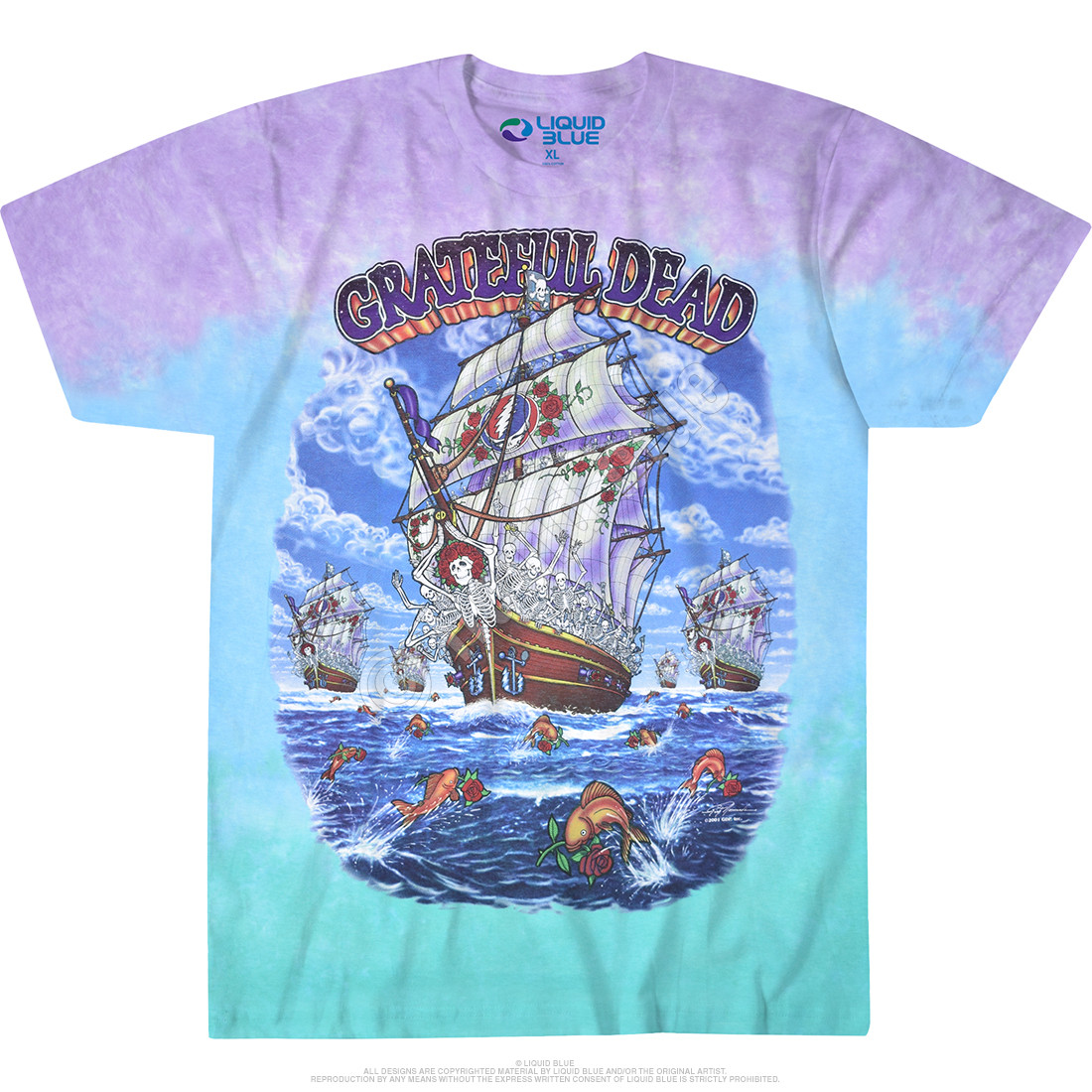 21d02f4d Grateful Dead Ship Of Fools Tie-Dye T-Shirt Tee Liquid Blue