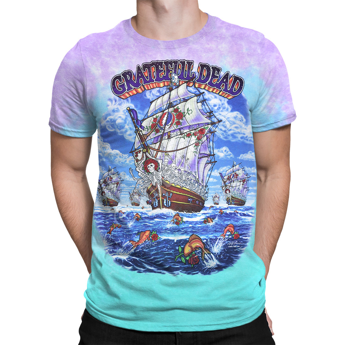 8dfca463e68 Grateful Dead Ship Of Fools Tie-Dye T-Shirt Tee Liquid Blue