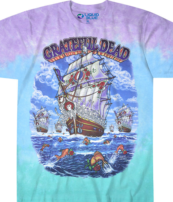 Grateful Dead Ship Of Fools Tie-Dye T-Shirt Tee Liquid Blue