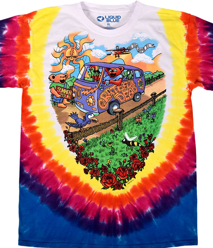 Grateful Dead Summer Tour Bus Tie-Dye T-Shirt Tee Liquid Blue