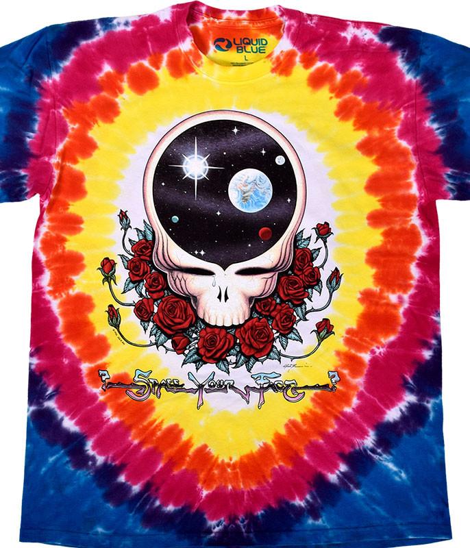 Grateful Dead Space Your Face Tie-Dye T-Shirt Tee Liquid Blue