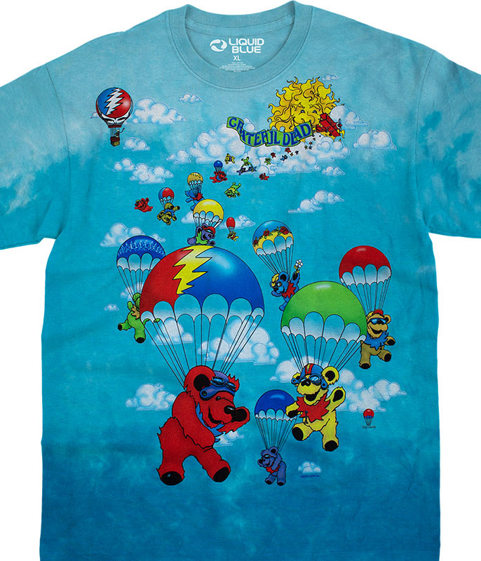 Grateful Dead Parachuting Bears Tie-Dye T-Shirt Tee Liquid Blue