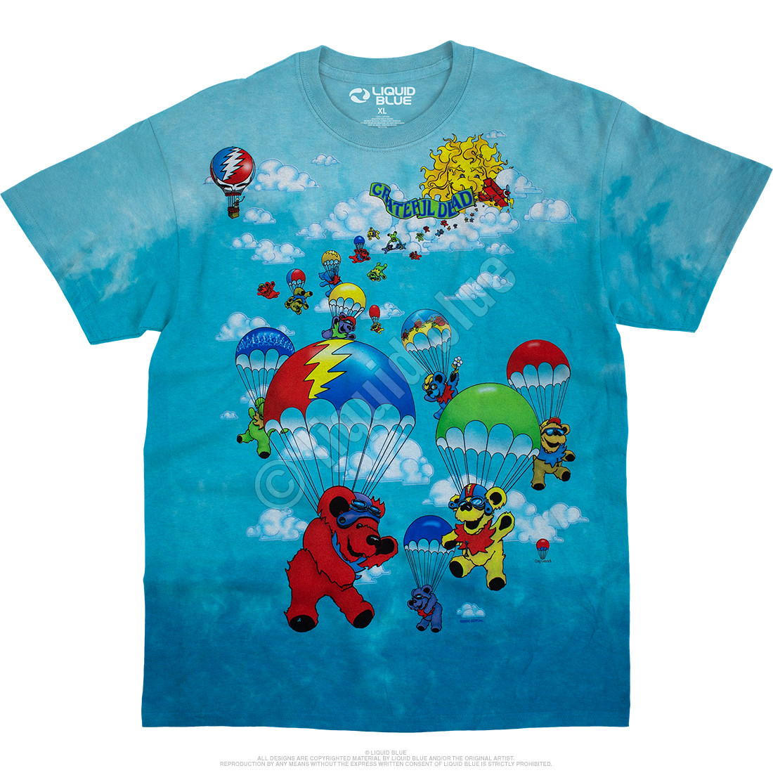 Parachuting Bears Tie-Dye T-Shirt