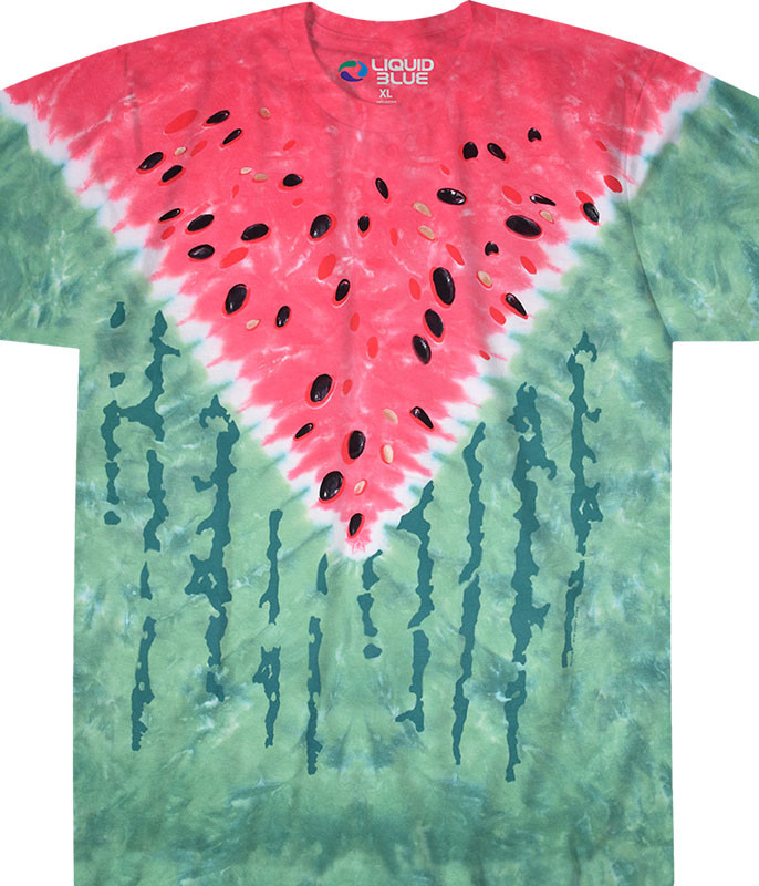 Food Watermelon Tie-Dye T-Shirt Tee Liquid Blue