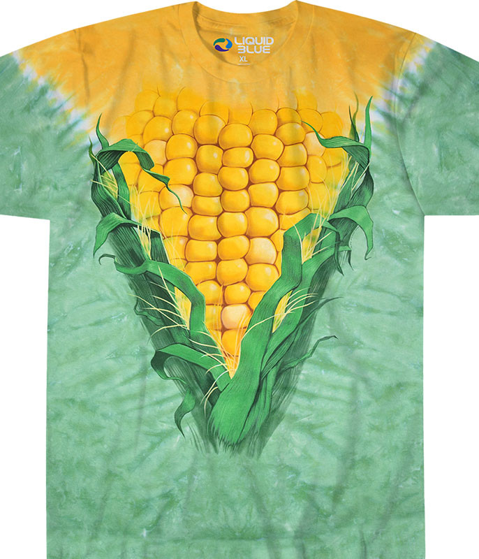 Food Corn Tie-Dye T-Shirt Tee Liquid Blue