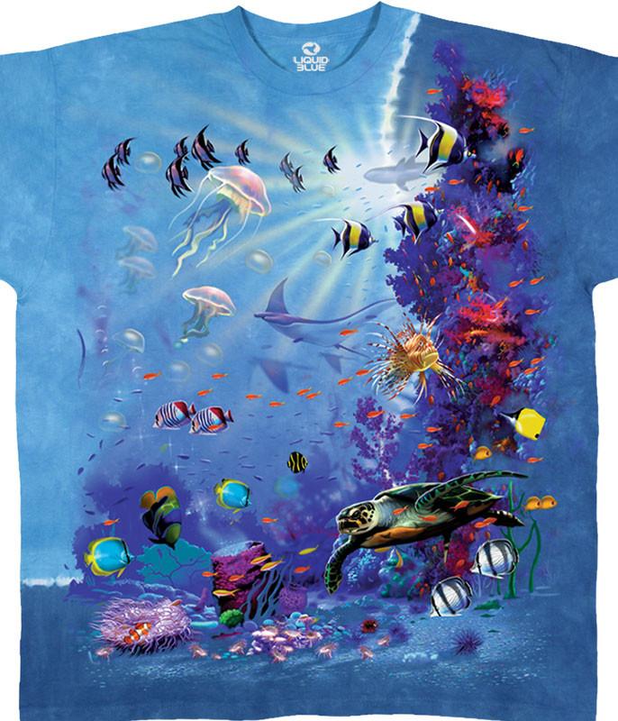 Aquatic Tropical Reef Tie-Dye T-Shirt Tee Liquid Blue