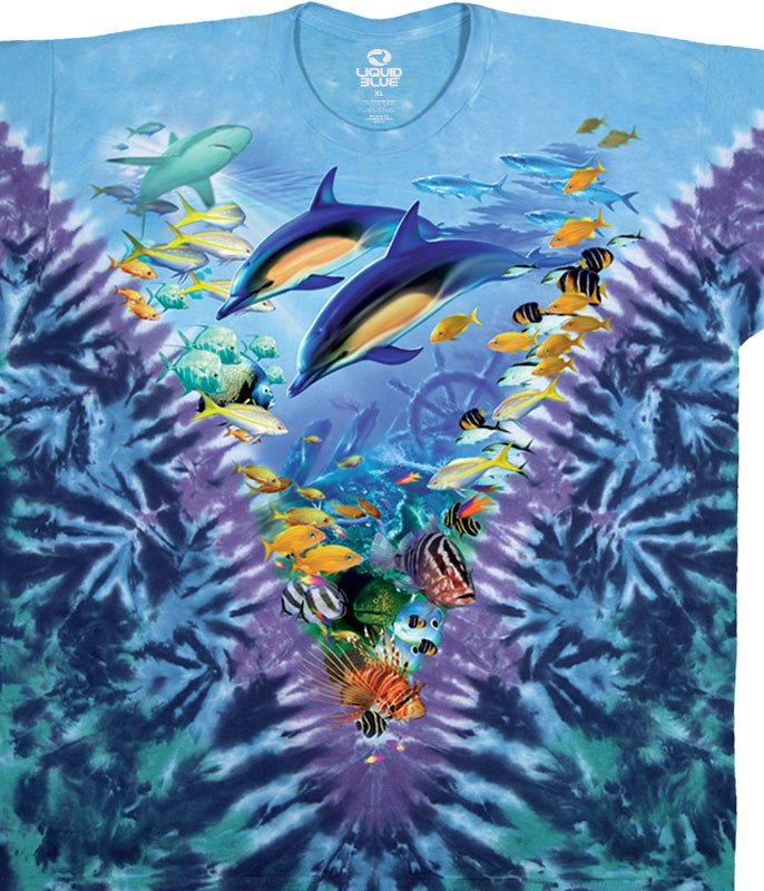 Aquatic Caribbean Treasure Tie-Dye T-Shirt Tee Liquid Blue