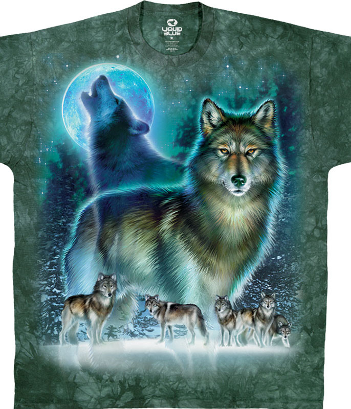 American Wildlife Wolf Moon Tie-Dye T-Shirt Tee Liquid Blue