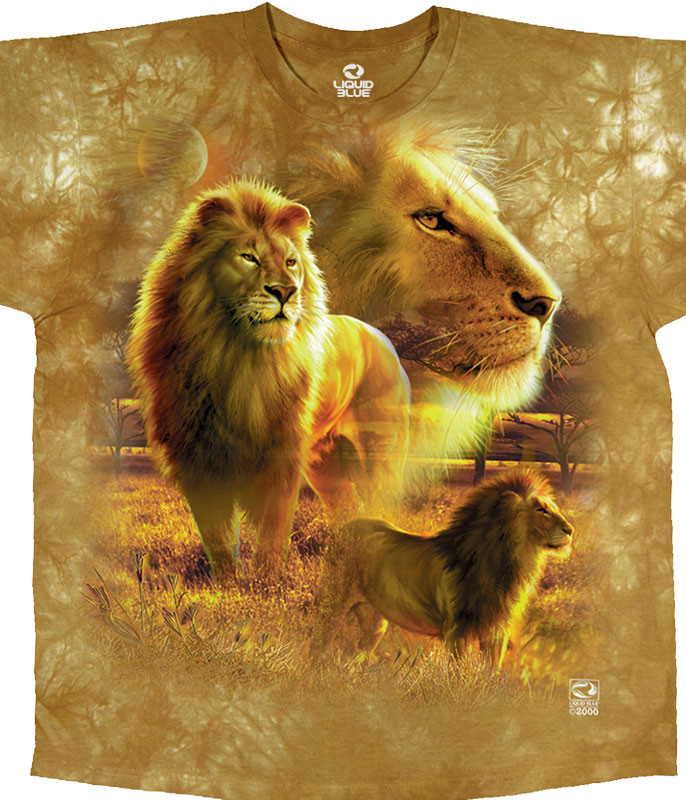 Exotic Wildlife Lion Pride Tie-Dye T-Shirt Tee Liquid Blue