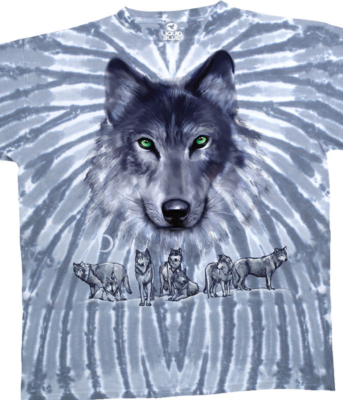 American Wildlife Grey Wolf Tie-Dye T-Shirt Tee Liquid Blue