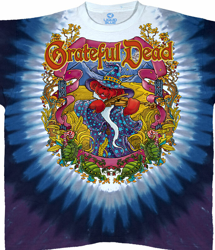 Grateful Dead Terrapin Moon Tie-Dye T-Shirt Tee Liquid Blue
