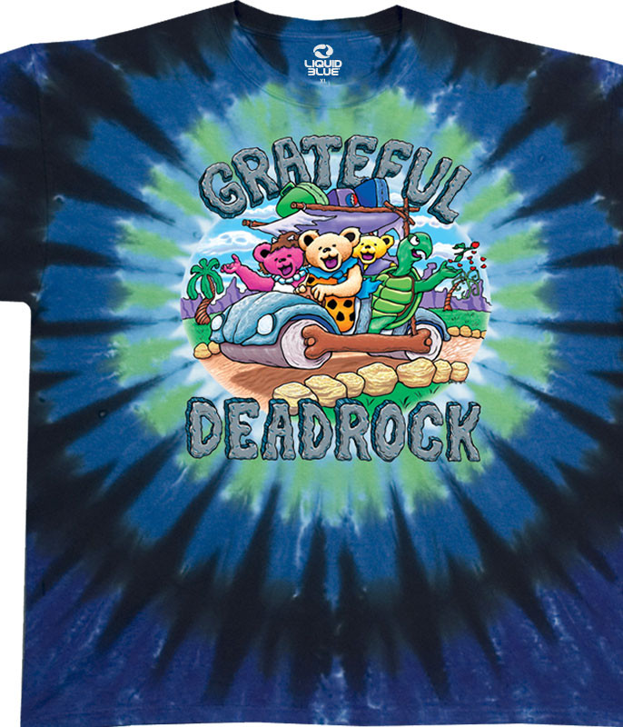 Grateful Dead Deadrock Tie-Dye T-Shirt Tee Liquid Blue