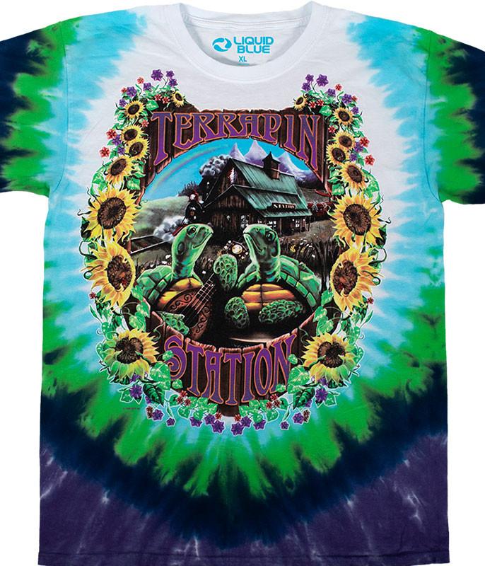 Grateful Dead Terrapin Station Tie-Dye T-Shirt Tee Liquid Blue