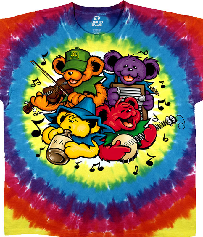 Grateful Dead Bear Jamboree Tie-Dye T-Shirt Tee Liquid Blue