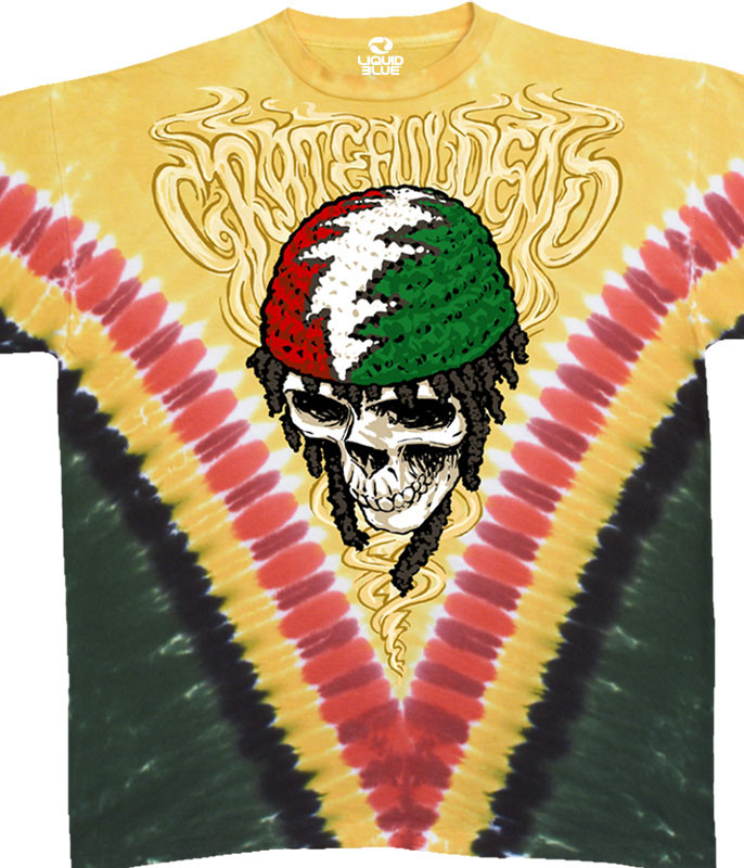Grateful Dead Rasta Dead Vdye Tie-Dye T-Shirt Tee Liquid Blue