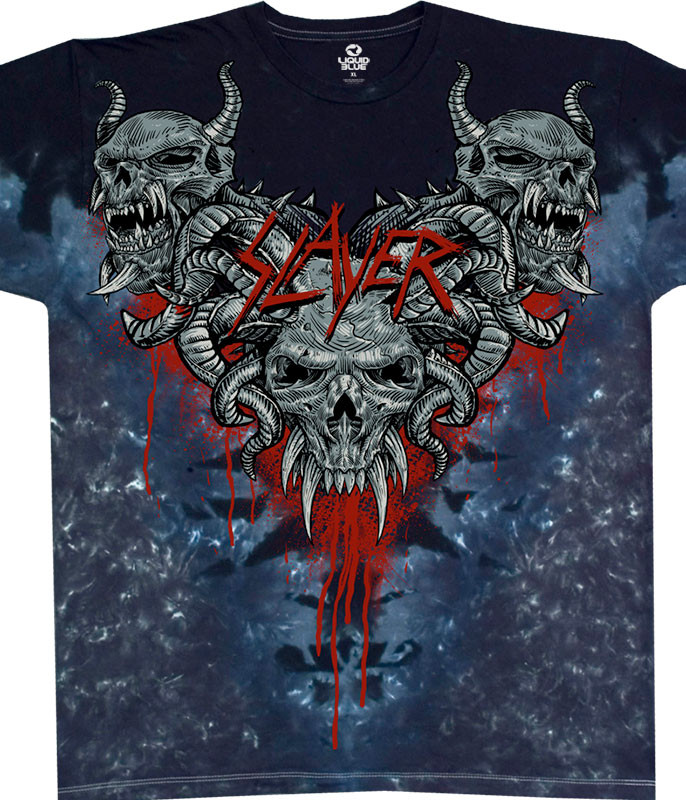 Slayer Hell Awaits Tie-Dye T-Shirt Tee Liquid Blue