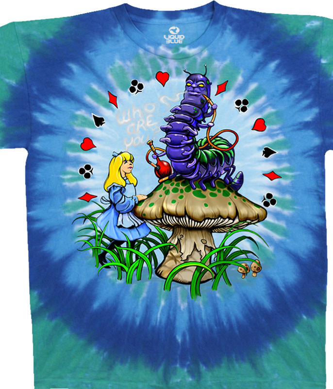 Light Fantasy Alice And Caterpillar Tie-Dye T-Shirt Tee Liquid Blue