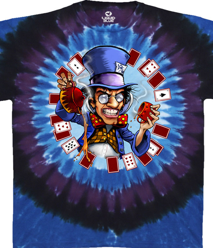 Light Fantasy Mad Hatter Tie-Dye T-Shirt Tee Liquid Blue