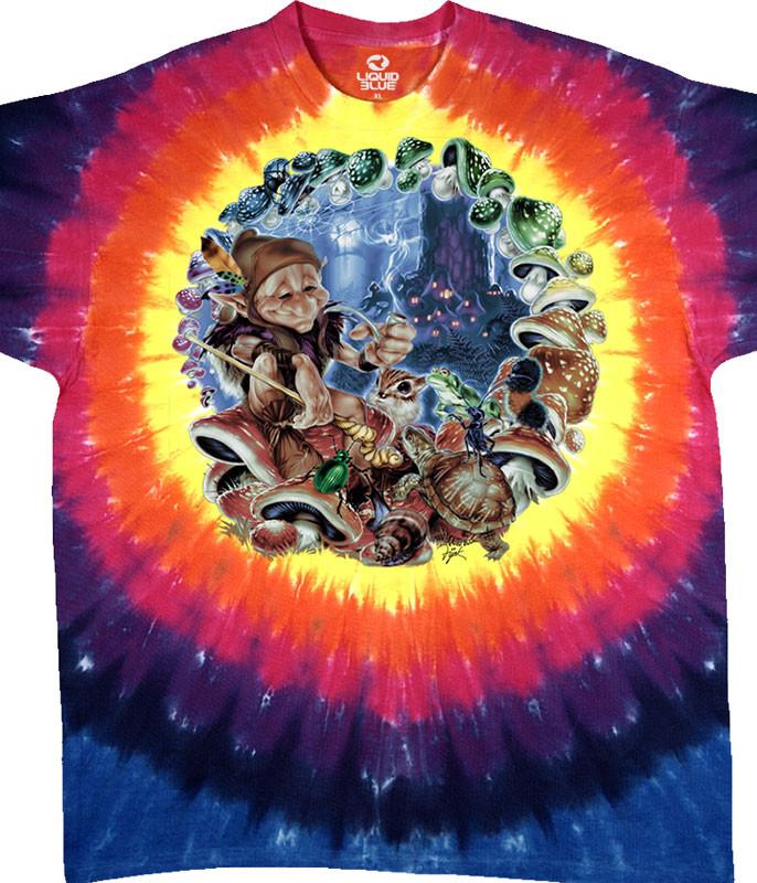 Light Fantasy Mushroom Elf Tie-Dye T-Shirt Tee Liquid Blue