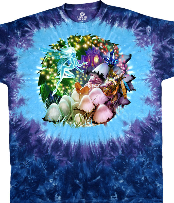 Light Fantasy Mushroom Garden Tie-Dye T-Shirt Tee Liquid Blue