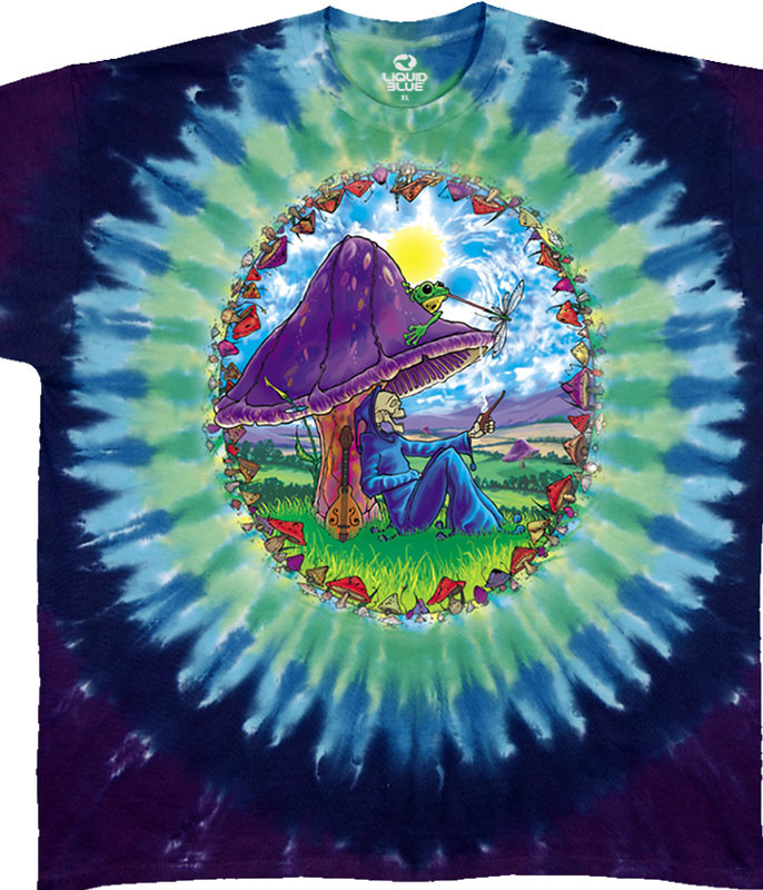 Light Fantasy Mushroom Haven Tie-Dye T-Shirt Tee Liquid Blue