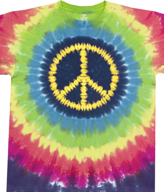 Americana Hippie Peace Tie-Dye T-Shirt Tee Liquid Blue