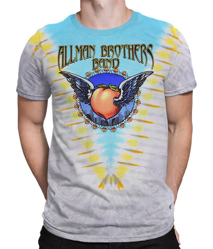 Allman Brothers Flying V Tie-Dye T-Shirt Tee Liquid Blue