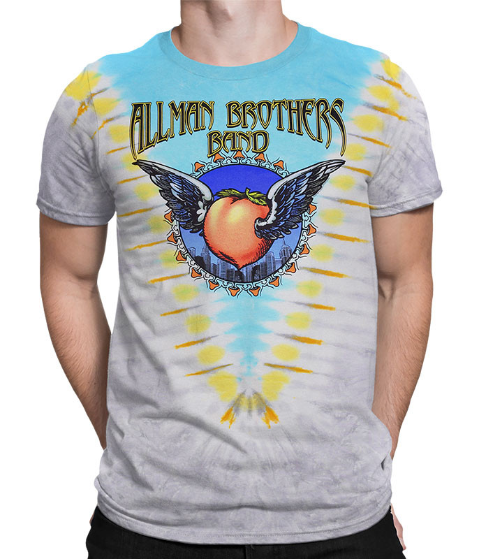 Allman Brothers Flying V Tie-Dye T-Shirt Tee Liquid Blue
