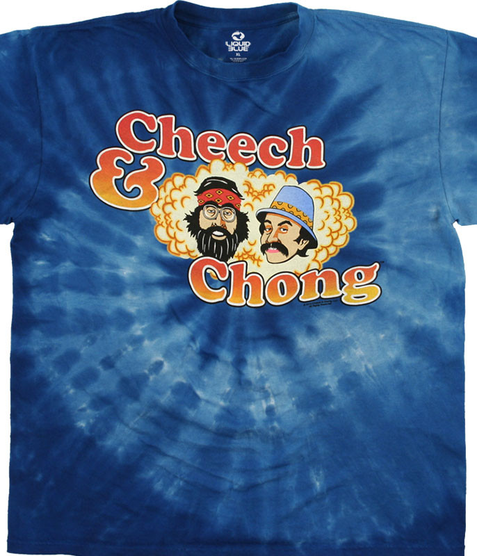 Cheech And Chong Spiral Tie-Dye T-Shirt Tee Liquid Blue
