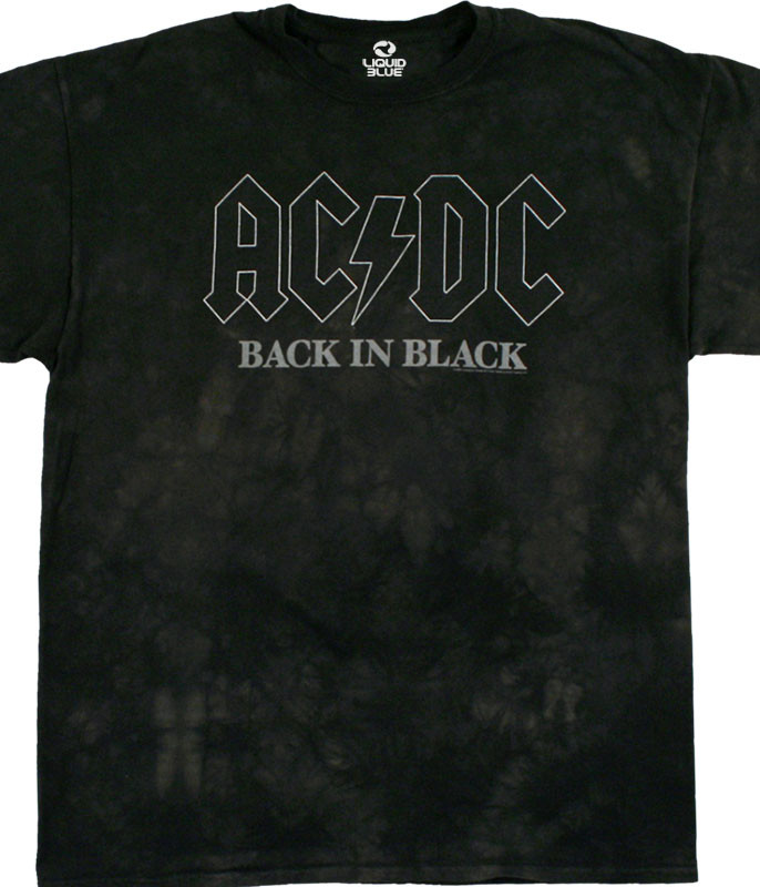 AC/DC Back In Black Tie-Dye T-Shirt Tee Liquid Blue