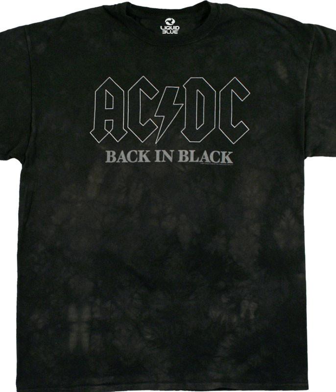 AC/DC Back In Black Tie-Dye T-Shirt Tee Liquid Blue