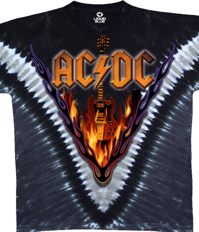 AC/DC Hells Bells Tie-Dye T-Shirt Tee Liquid Blue