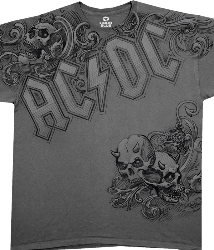 AC/DC Night Prowler Grey Athletic T-Shirt Tee Liquid Blue