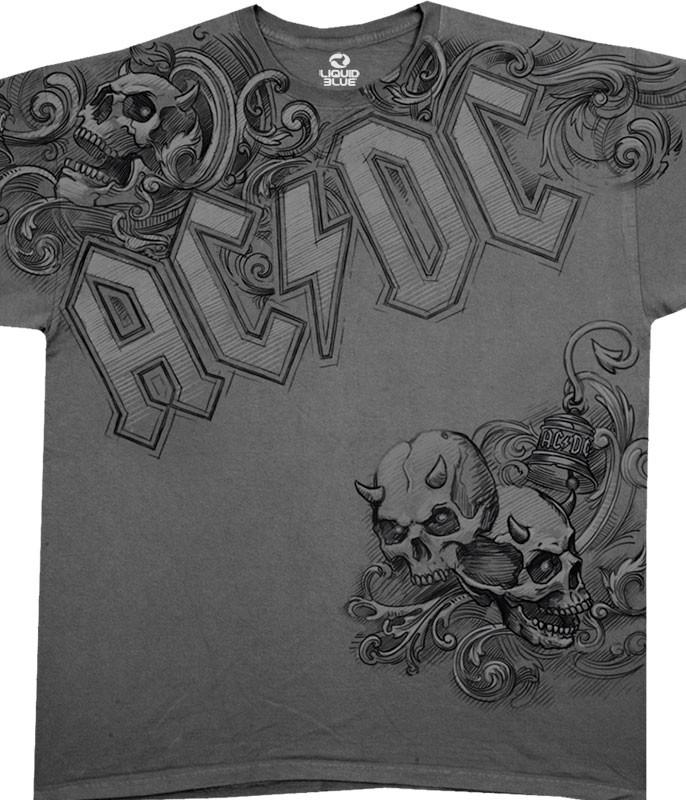 AC/DC Night Prowler Grey Athletic T-Shirt Tee Liquid Blue