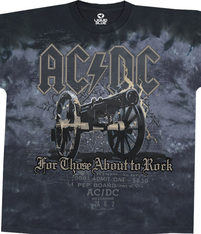 AC/DC Cannon Tie-Dye T-Shirt Tee Liquid Blue