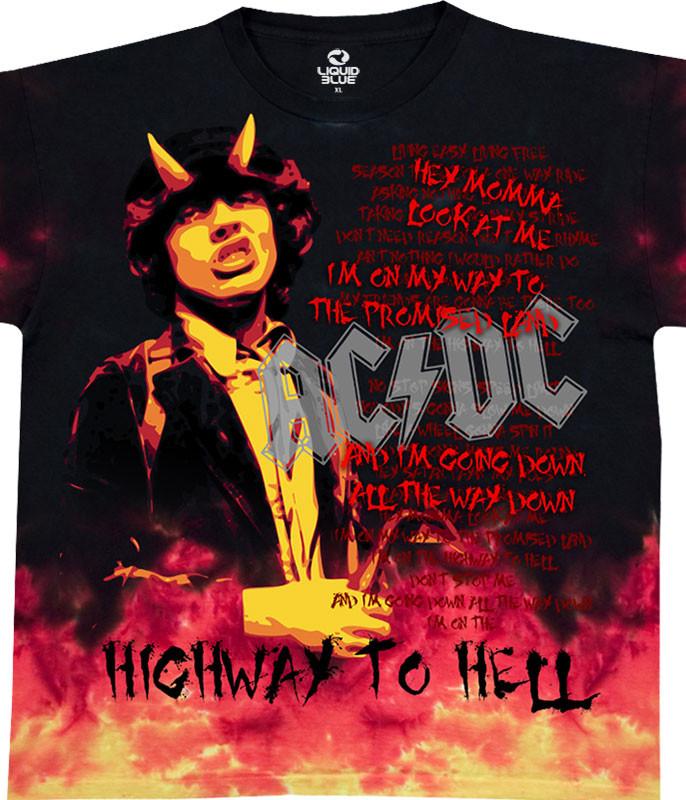AC/DC Hell Tie-Dye T-Shirt Tee Liquid Blue