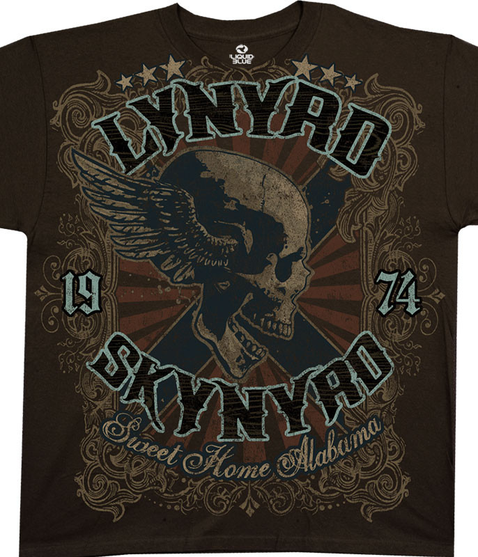 Lynyrd Skynyrd Sweet Home Alabama Brown Athletic T-Shirt Tee Liquid Blue